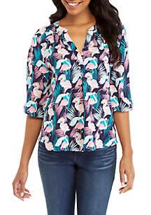 Crown & Ivy™ Petite 3/4 Sleeve Print Peasant Top