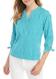 Crown & Ivy™ Petite 3/4 Sleeve Yarn Dye Gingham Top