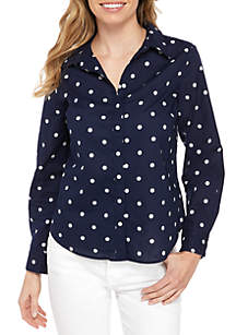 Crown & Ivy™ Petite Long Sleeve Print Button Up Top