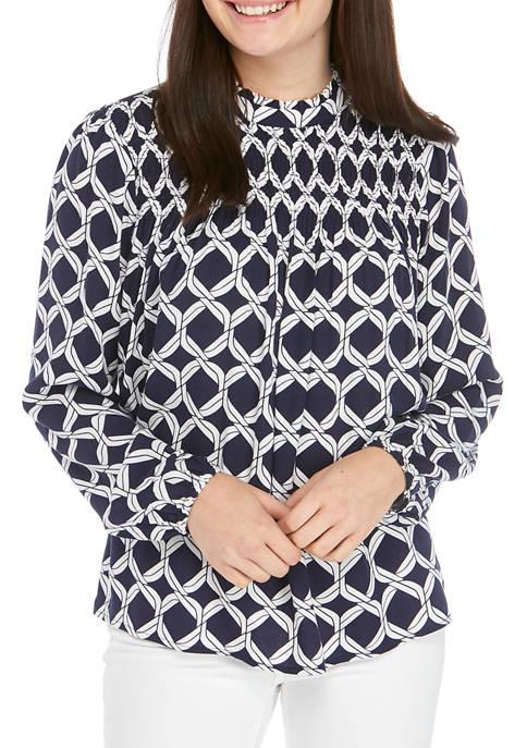 Crown & Ivy™ Petite Puff Sleeve Smocked Dress
