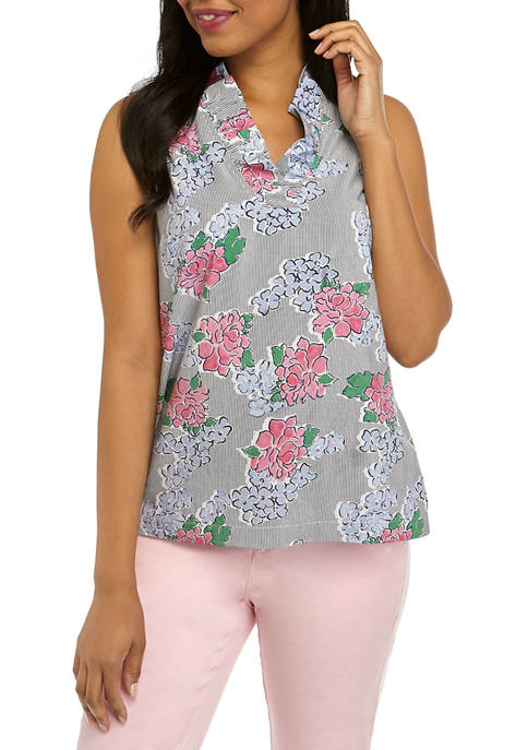 Crown & Ivy™ Petite Ruffle Neck Printed Top