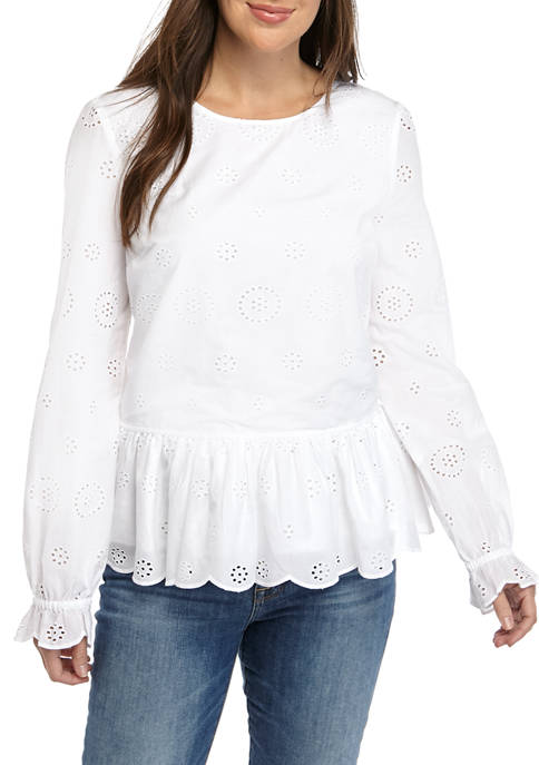 Crown & Ivy™ Petite Long Sleeve Peplum Eyelet