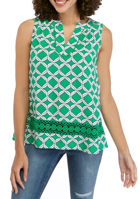 Crown & Ivy™ Petite Sleeveless Crochet Print Peasant