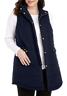 Plus Size Lace Puffer Vest