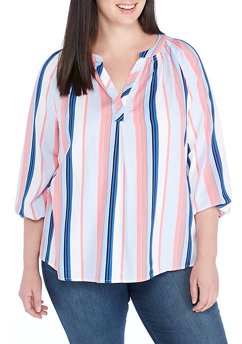 Crown & Ivy™ Plus Size Stripe Peasant Top