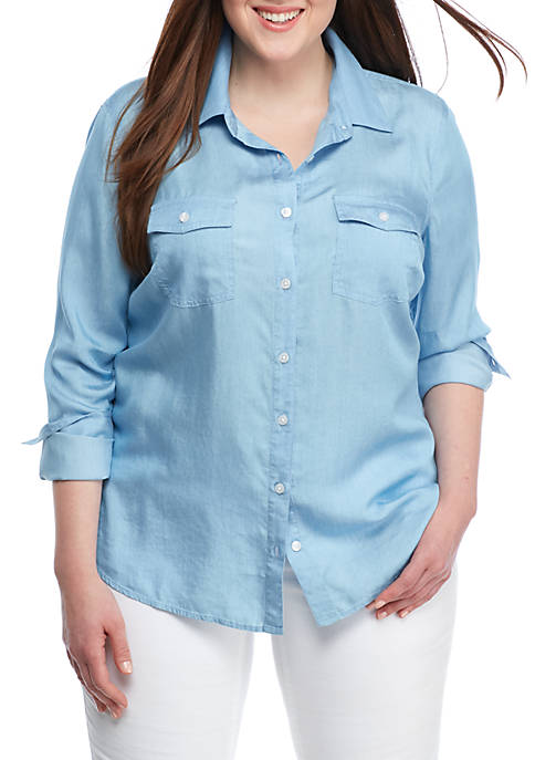 Crown & Ivy™ Plus Size Classic Chambray Shirt