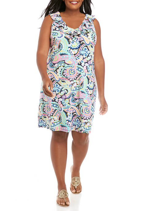 Crown & Ivy™ Plus Size Sleeveless Ruffle Dress