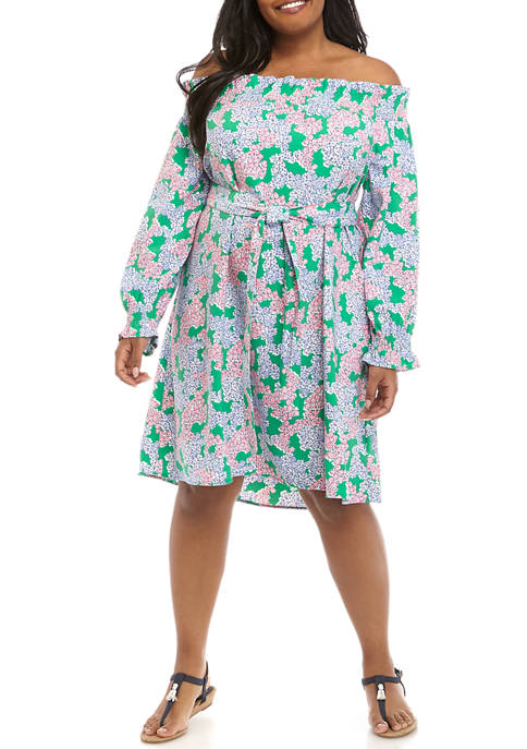 Crown & Ivy™ Plus Size Smock Ruffle Print