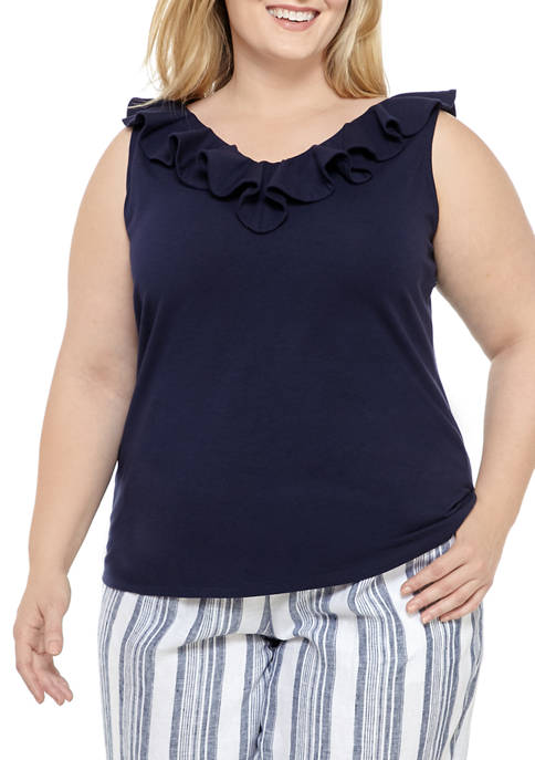 Crown & Ivy™ Plus Size Flounce Sleeve V-Neck