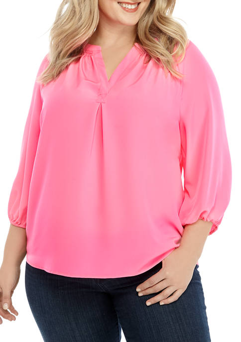Crown & Ivy™ Plus Size Neon Peasant Blouse