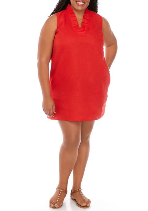 Crown & Ivy™ Plus Size Sleeveless Ruffle V-Neck