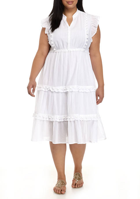 Crown & Ivy™ Plus Size Ruffle Sleeve Tiered