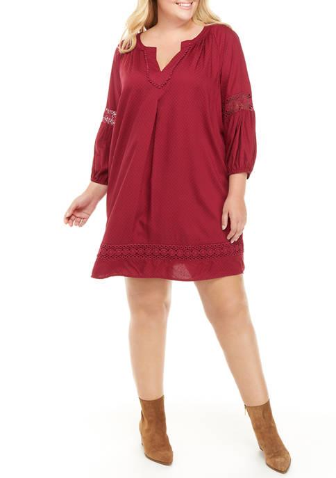 Crown & Ivy™ Plus Size Blouson Sleeve Crochet