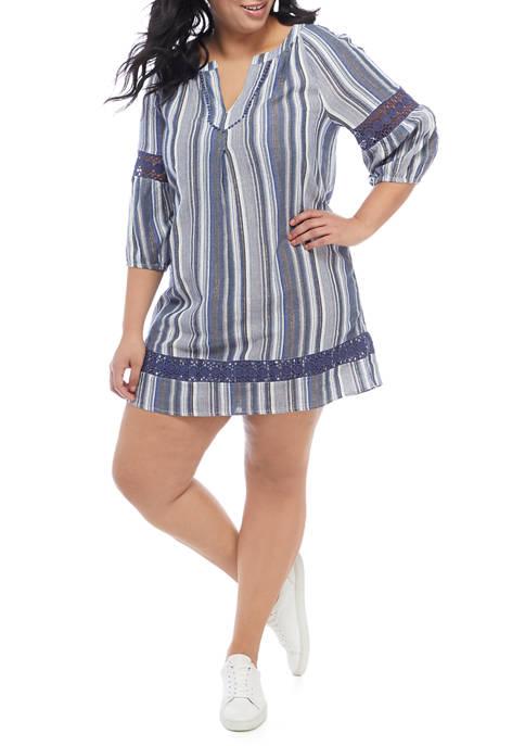 Plus Size 3/4 Sleeve Peasant Dress