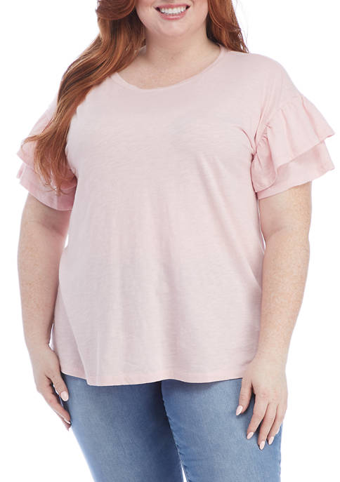 Crown & Ivy™ Plus Size Double Ruffle Sleeve