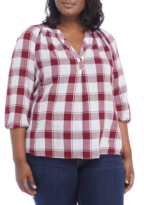 Crown & Ivy™ Plus Size 3/4 Sleeve Plaid