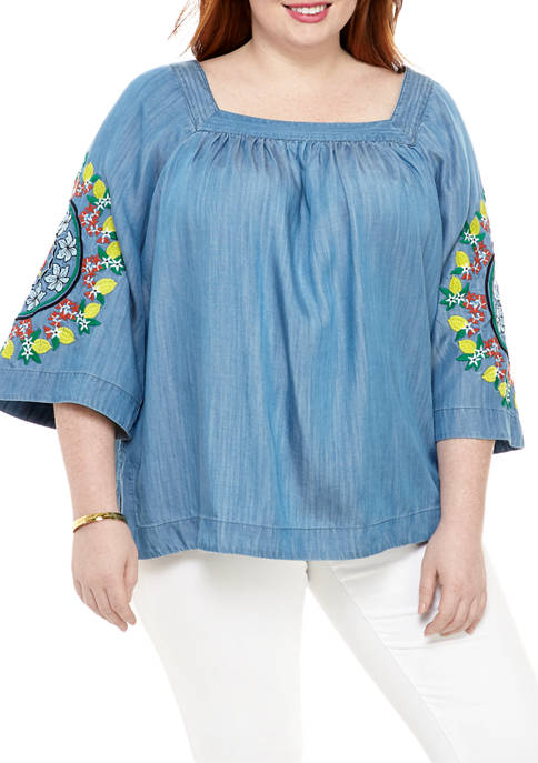 Crown & Ivy™ Plus Size Embroidered Square Neck