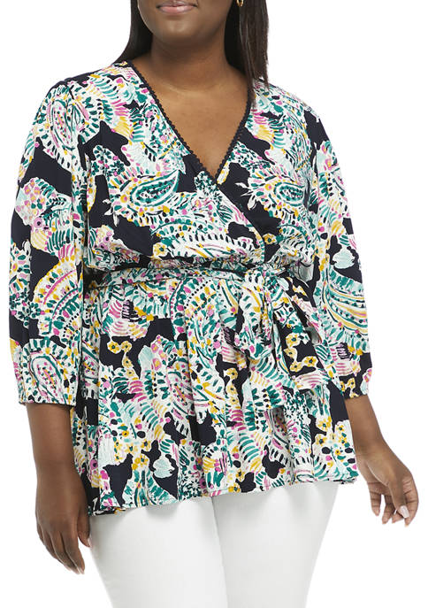 Crown & Ivy™ Plus Size 3/4 Blouson Sleeve
