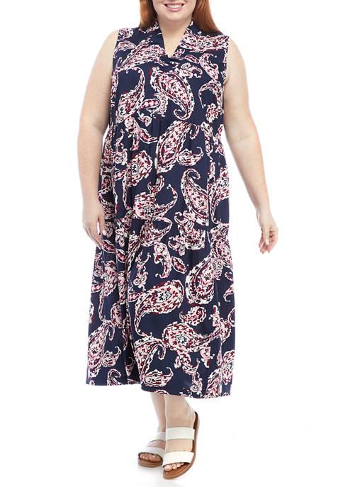 Crown & Ivy™ Plus Size Sleeveless Ruffle Neck