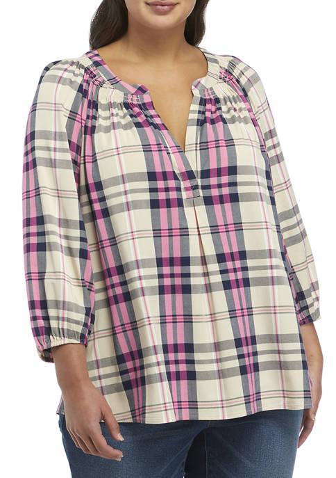 Crown & Ivy™ Plus Size 3/4 Sleeve Peasant