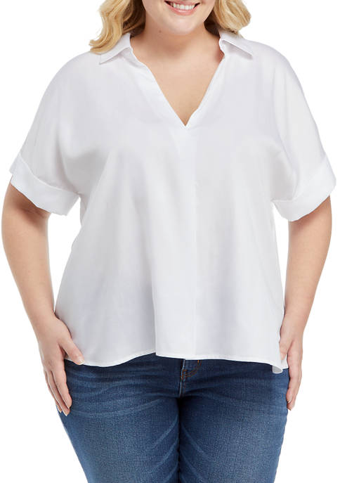 Crown & Ivy™ Plus Size Short Sleeve Popover