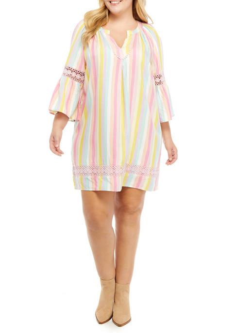 Crown & Ivy™ Plus Size Striped Peasant Dress