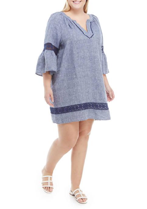 Crown & Ivy™ Plus Size Bell Sleeve Crochet