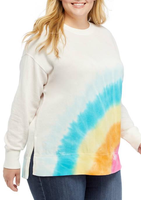 Crown & Ivy™ Plus Size Long Sleeve Rainbow