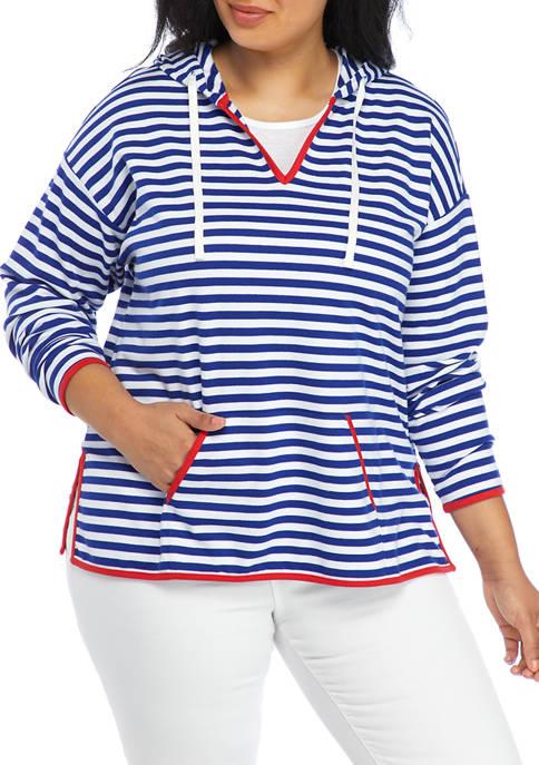 Crown & Ivy™ Plus Size Drop Shoulder Striped