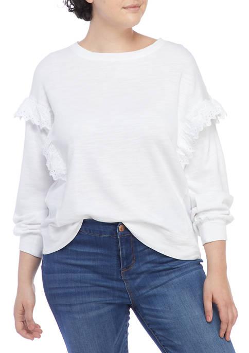 Crown & Ivy™ Plus Size Long Sleeve Ruffle