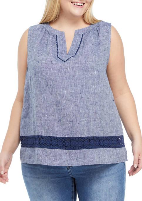 Crown & Ivy™ Plus Size Sleeveless Crochet Peasant