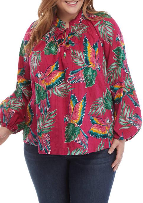 Crown & Ivy™ Plus Size Textured Peasant Top