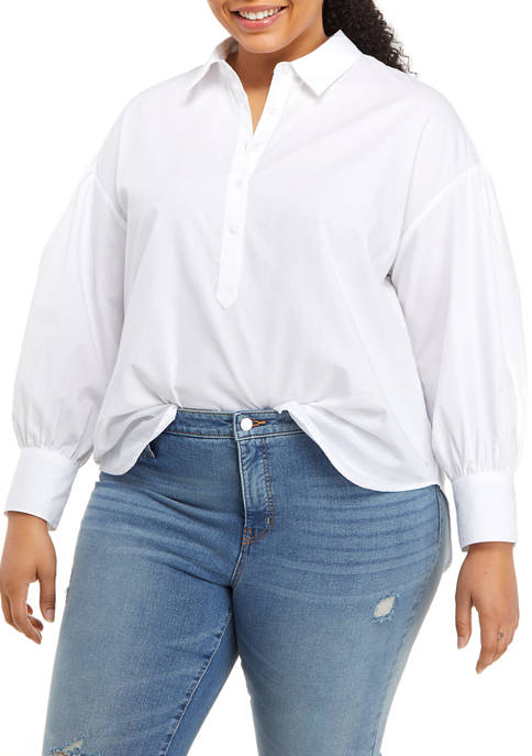 Crown & Ivy™ Plus Size Long Sleeve Oversized