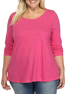 Plus Size 3/4 Sleeve Swing Tee
