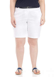 Plus Size Solid 9-in. Shorts