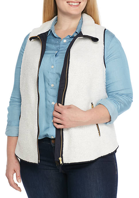 Crown & Ivy™ Plus Size Zip Front Sherpa