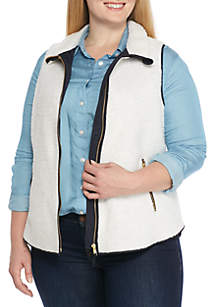 Plus Size Zip Front Sherpa Vest by Crown & Ivy™