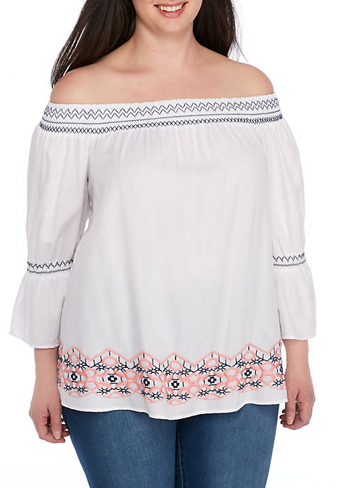 Crown & Ivy™ Plus Size Embroidered Off-the-Shoulder Bell