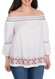 Plus Size Embroidered Off-the-Shoulder Bell Sleeve Top