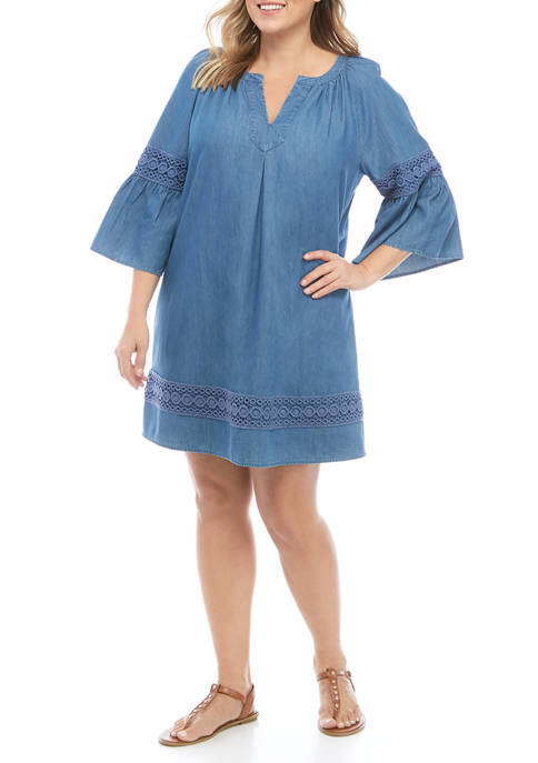 Crown & Ivy™ Plus Size Embroidered Woven Dress