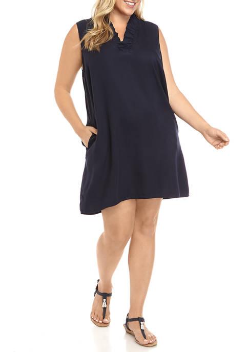 Plus Size Sleeveless Ruffle Neck Dress