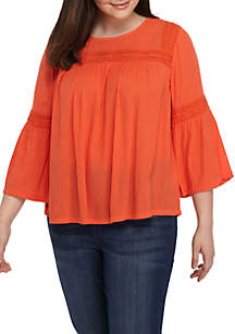 Plus Size Long Bell Sleeve Peasant Top