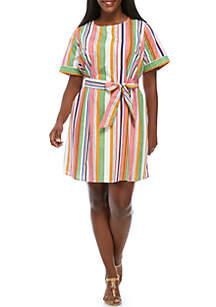 Short Sleeve Waist Tie Print Dress