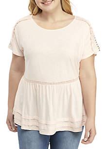Plus Size Short Sleeve Peplum Top