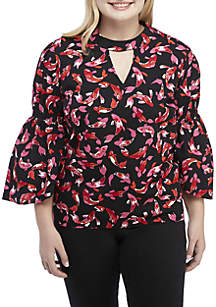 Crown & Ivy™ Plus Size Long Bell Sleeve Print Top
