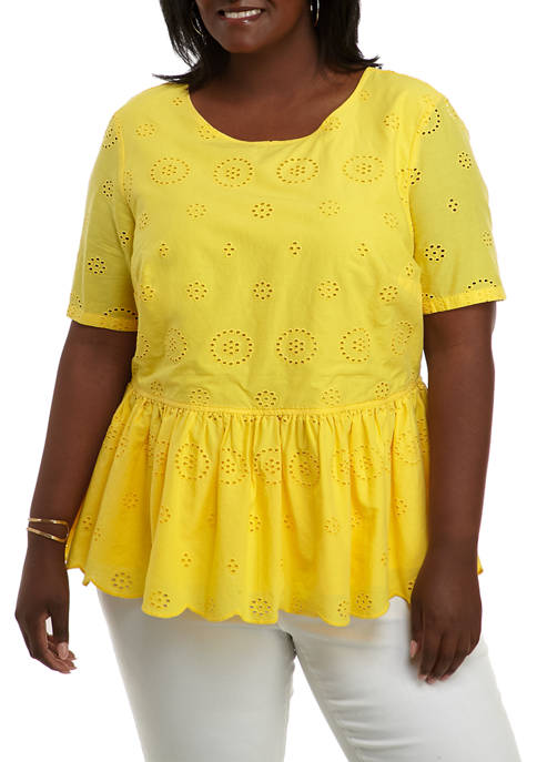 Crown & Ivy™ Plus Size Short Sleeve Peplum