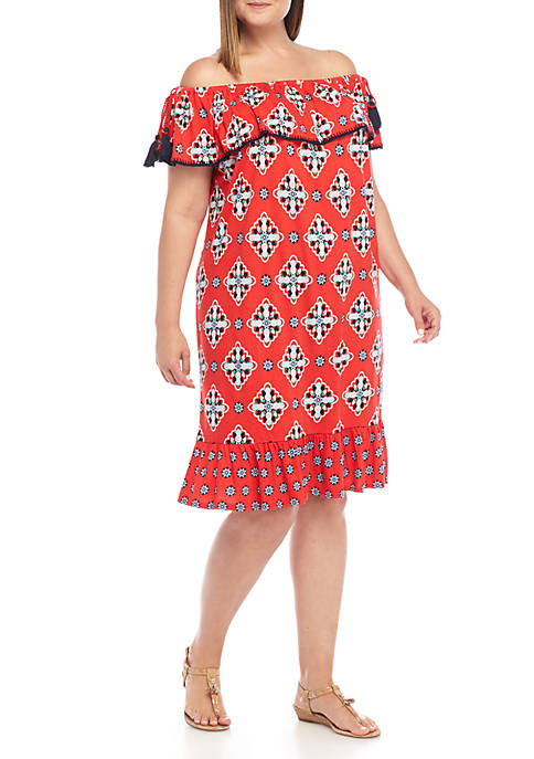 Crown & Ivy™ Plus Size Off-the-Shoulder Contrast Dress
