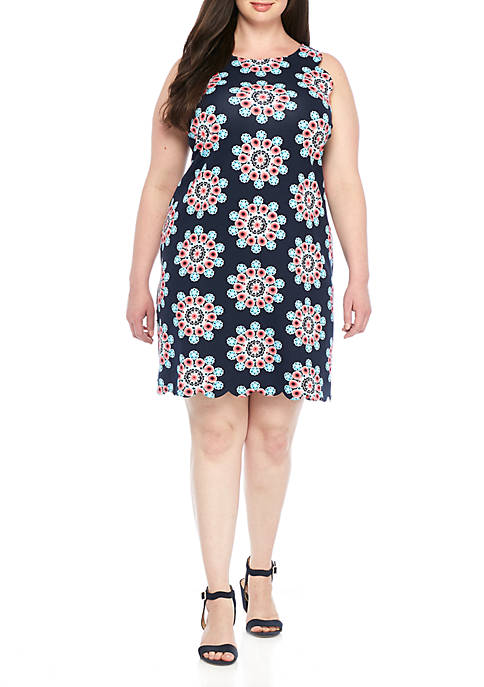 Crown & Ivy™ Plus Size Scallop Ponte Dress