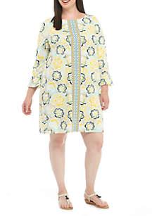 Plus Size Three-Quarter Printed Flare Dress