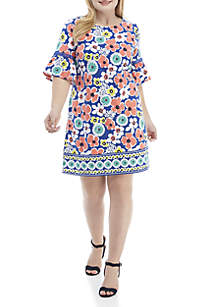 60308881cb8ab ... Crown   Ivy™ Plus Size Short Bell Sleeve Print Dress